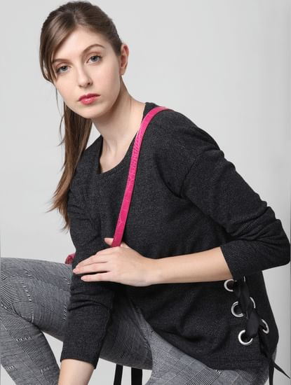 Black Rivet Detail Sweatshirt