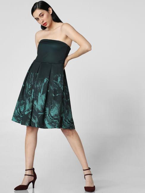 Green Abstract Print Tube Dress