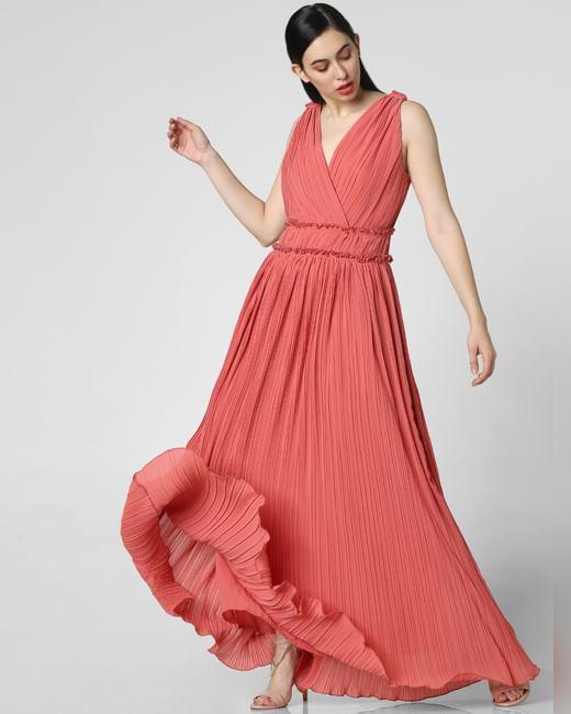 Peach Pleated Maxi Dress