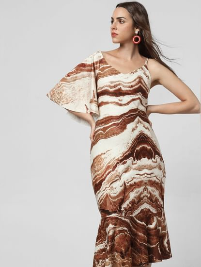 Brown Abstract Print Ruffle Midi Dress