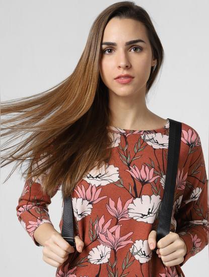 Brown Floral Print Asymmetric Top