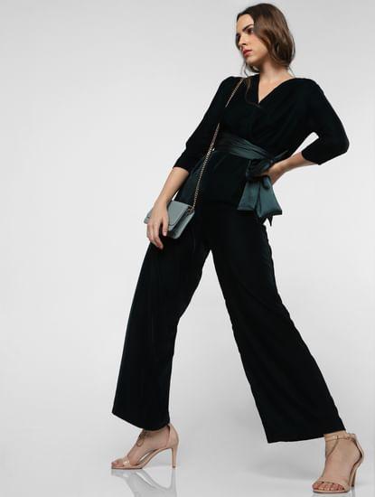 Dark Green Belted Velvet Jumpsuit