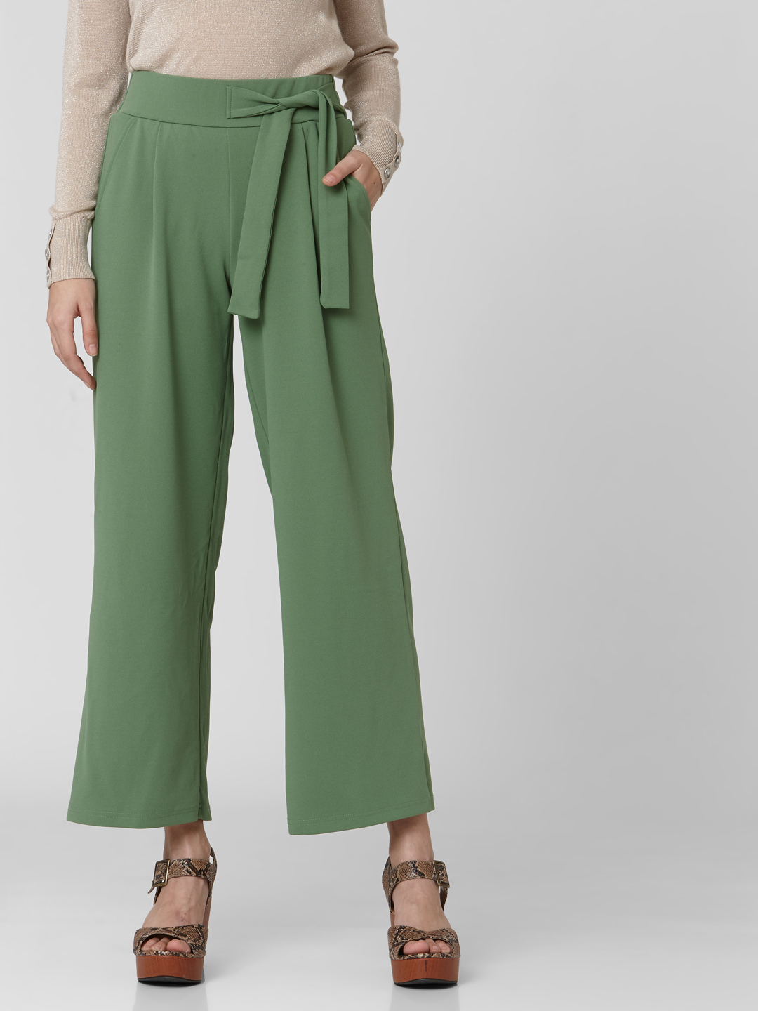 Green High Rise Pants