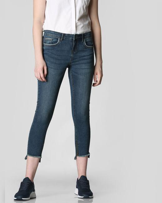 Blue Mid Rise Frayed Hem Skinny Jeans