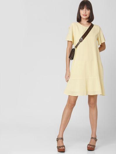 Yellow Self-Design Shift Dress