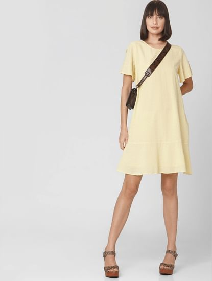 Yellow Self-Design Shift Dress