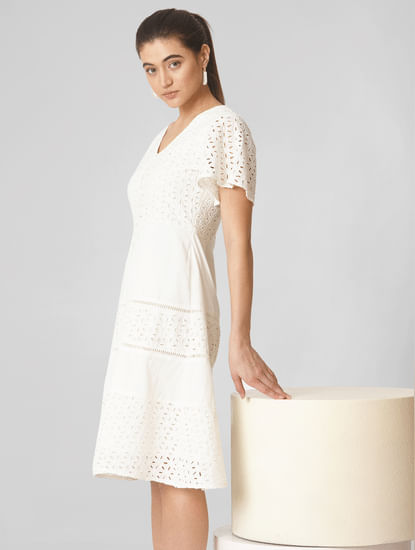 White Schiffli Embroidered Fit & Flare Dress