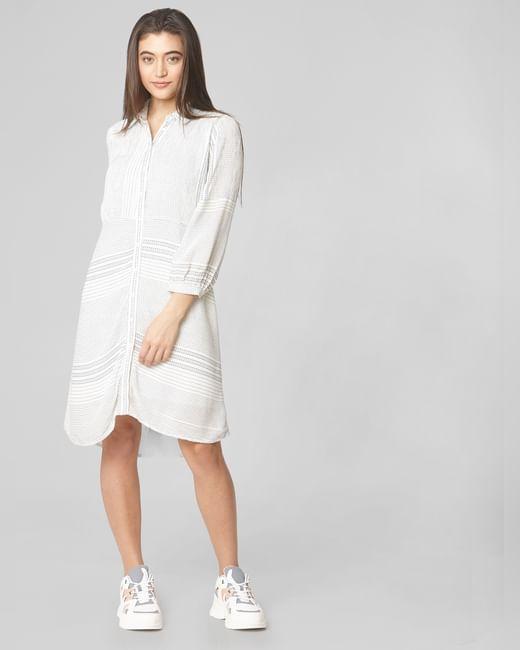 White All Over Print Shirt Dress