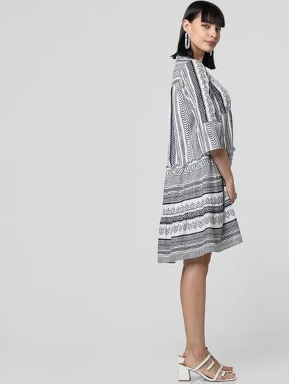 White Abstract Print Shift Dress