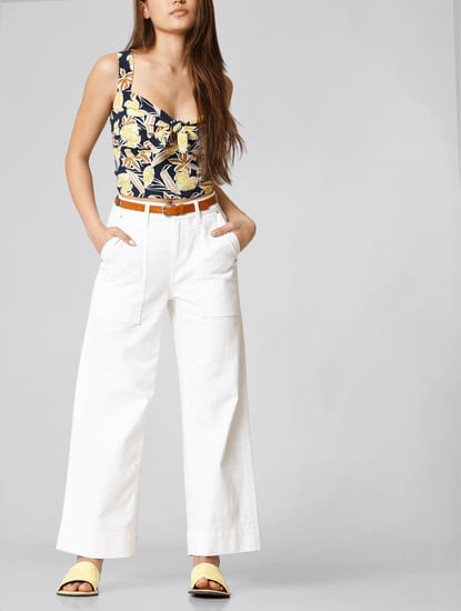 White Mid Rise Wide Leg Jeans