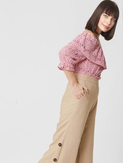 Pink Lace Off-Shoulder Top