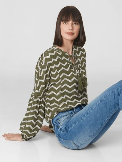 Green All Over Print Top