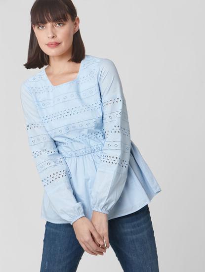 Blue Schiffli Embroidered Top