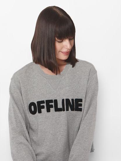 Grey Text Print Cropped Sweatshirt
