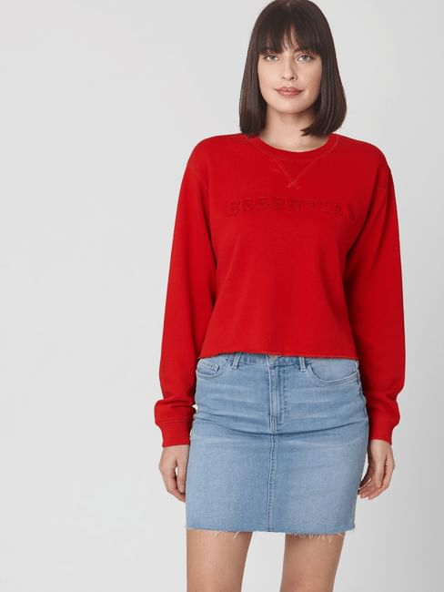 Red Text Print Cropped Sweatshirt