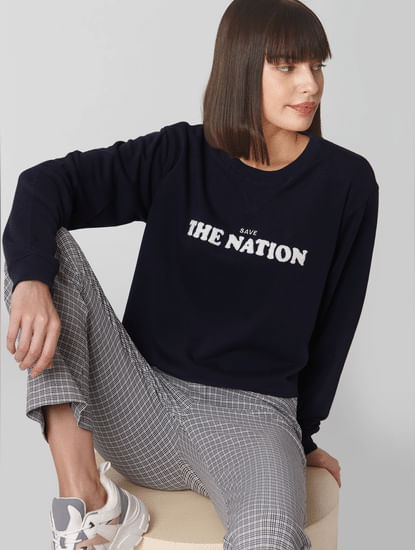 Blue Text Print Cropped Sweatshirt