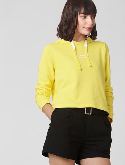 Yellow Slogan Print Hooded Sweatshirt
