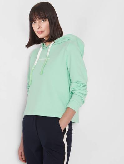 Green Slogan Print Hooded Sweatshirt