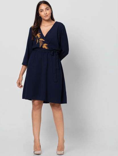 Navy Blue Belted Shift Dress