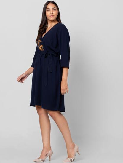 Navy Blue Belted Shift Dress