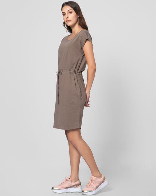 Brown Cinched Waist Shift Dress
