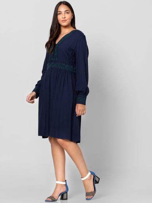 Blue Cuff Sleeved Shift Dress