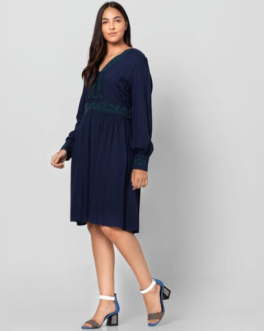 Blue Cuff Sleeved Shift Dress