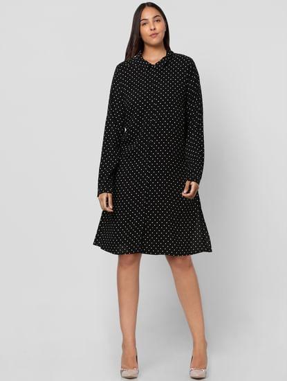 Black Polka Dot Shirt Dress