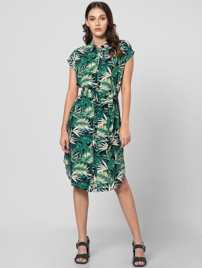 Green Tropical Print Shirt Dress