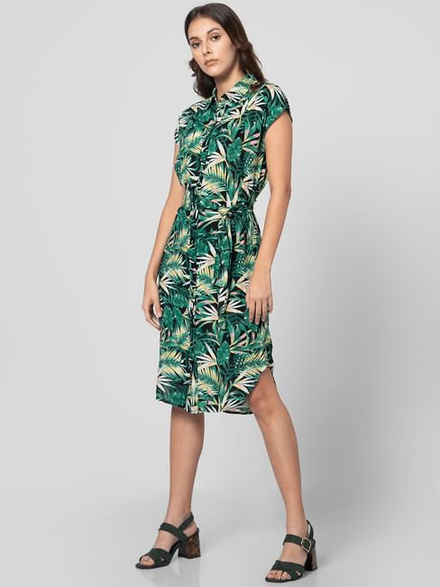 Green Tropical Print Shirt Dress