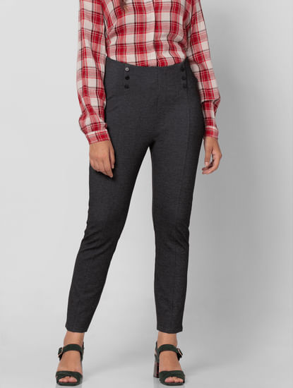 Dark Grey High Rise Skinny Fit Jeggings