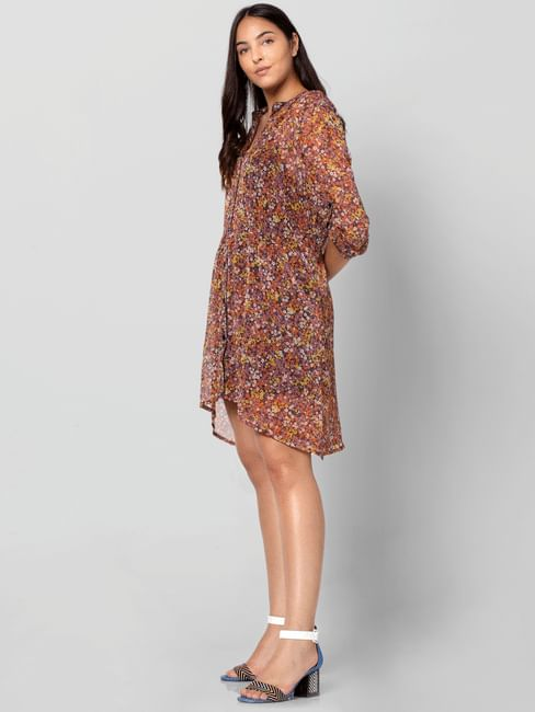 Multi-Colour Floral Print Shirt Dress
