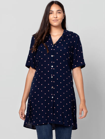 Blue Polka Dot Long Shirt