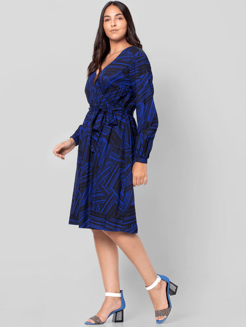 Blue Abstract Print Fit & Flare Dress