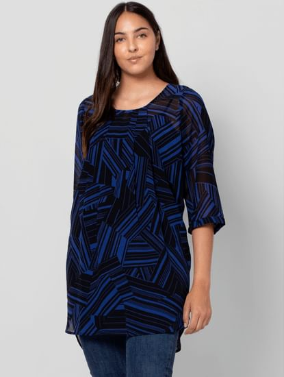 Blue Abstract Print Tunic