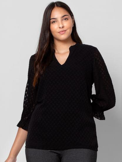 Black Textured Top