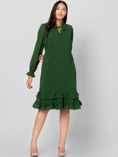 Green Tiered Shift Dress