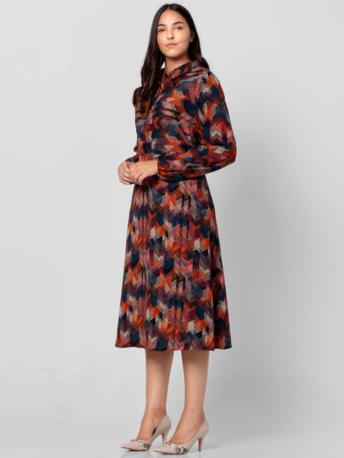 Multi-Colour Abstract Print Midi Dress