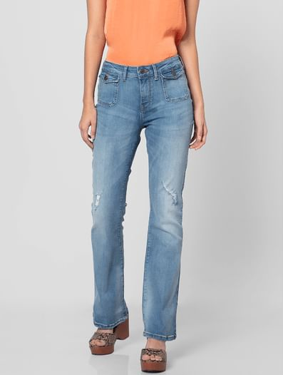 Blue Mid Rise Washed Boot Cut Jeans