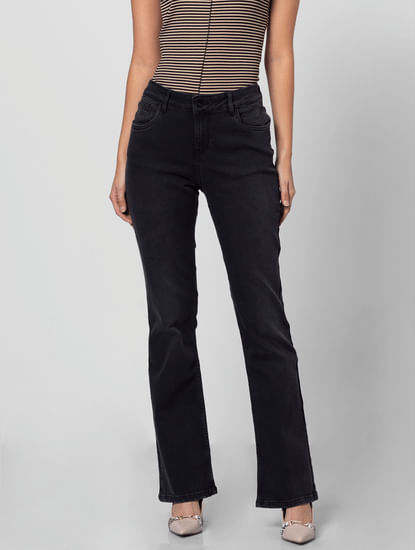 Black Mid Rise Boot Cut Jeans