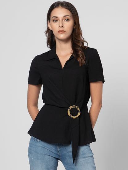 Black Buckle Accent Top