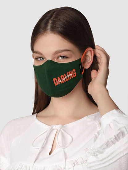 Pack of 2 Text Print Knit 3PLY Anti-Bacterial Mask