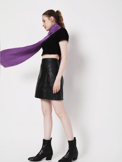 Black High Rise Faux Leather Skirt