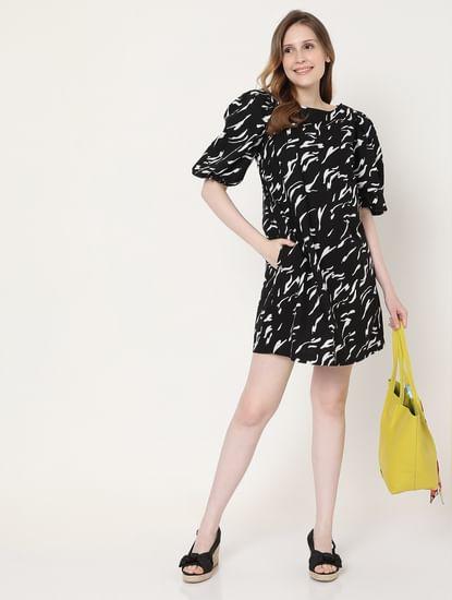 Black Abstract Print Mini Dress