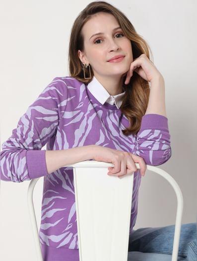Purple Abstract Print Sweatshirt