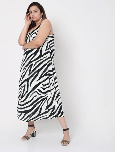 Black & White Printed Midi Dress