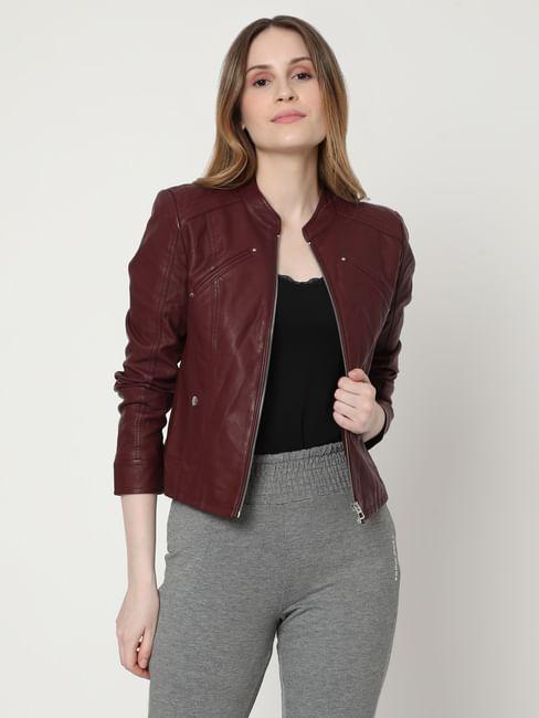 Maroon Biker Jacket