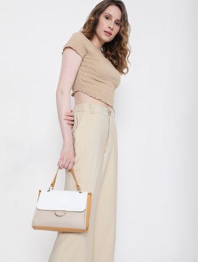 Tan Colourblocked Handbag