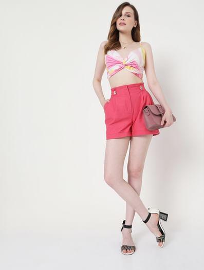 Pink Paperbag High Waist Shorts