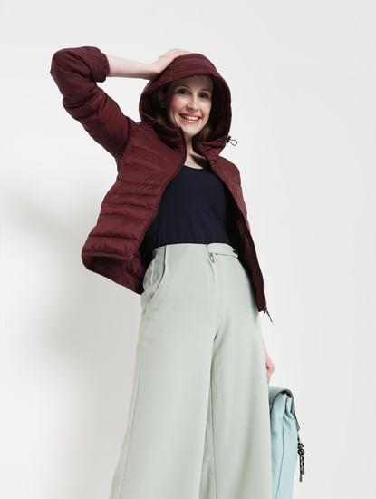 Maroon Hooded Puffer Jacket
